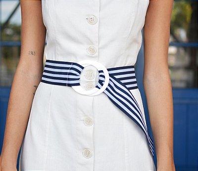Cinto Navy Branco e Azul