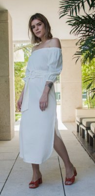 Vestido Midi Leblon Off White