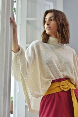Poncho Chenille Off White