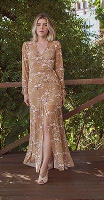 Vestido Envelope Tule Orquídea com Forro