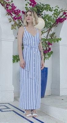Vestido Cintra Azul/Off