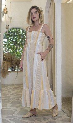 Vestido Onix Lastex Off/Amarelo