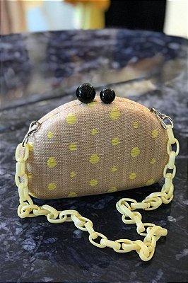 Clutch Palha Poá Amarelo