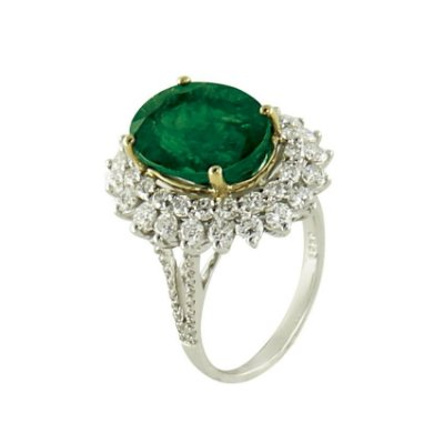 Anel em Ouro-Esmeralda c/ Diamantes   -  cod 09045059