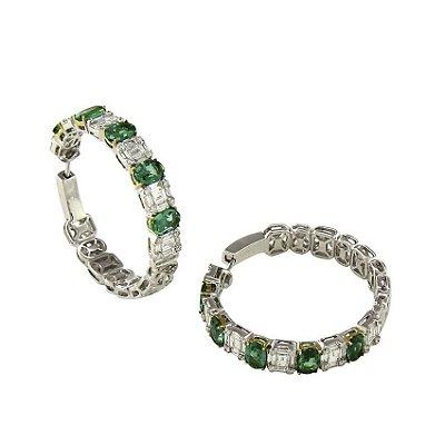 Brinco Argola-Esmeralda  c/ Diamantes   -  cod AFZV53BBU