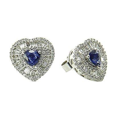 Brinco Safira c/ Diamantes  -  cod 07045219