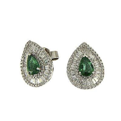 Brinco Esmeralda c/ Diamantes  -  cod 07045249
