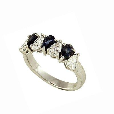 Anel em Ouro-Safira  c/ Diamantes   -   cod 09045076