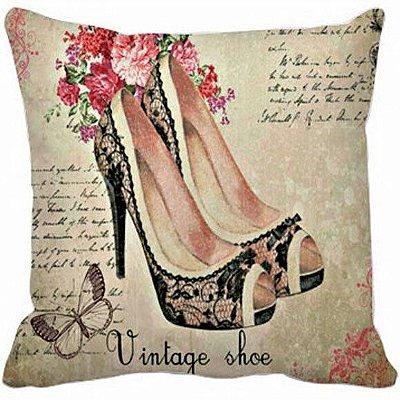 Capa de Almofada - Estampa Vintage Shoe