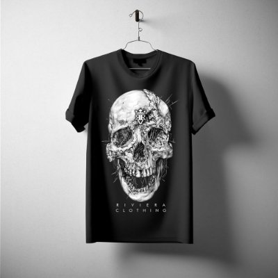 T-SHIRT DECOMPOSITION SKULL PRETA RIVIERA