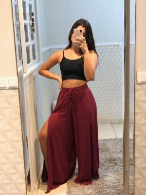 Pantalona Fenda Frontal Vinho