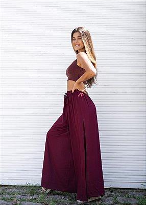 Pantalona Fenda Lateral Vinho
