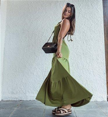 Vestido Longo Com Babado Vitória Verde Musgo