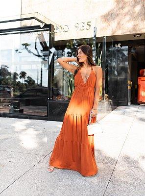 Vestido Longo Com Babado Telha