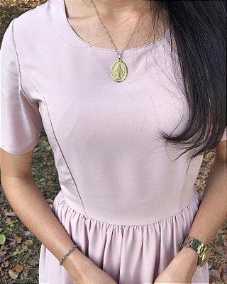 Vestido Midi Rosa Franzido