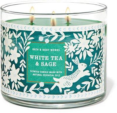 Vela 3 pavios Fragrância White Tea & Sage