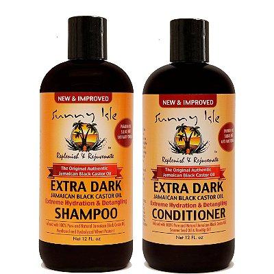 Kit Shampoo e Condicionador Castor Oil Extra Dark Sunny Isle