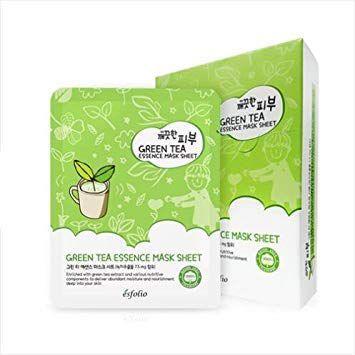 Kit Sheet Mask Green Tea Essence Esfolio com 10 unidades