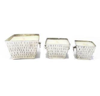 Conjunto de castiçais de Metal com vela perfumada