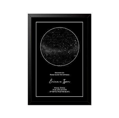 Quadro Mapa Das Estrelas A4 Com Moldura E Vidro Model.1