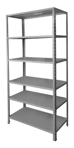 estante de aço medindo 2000x920x300mm contendo 06 prateleiras ch24 + 04 colunas de 2000mm de altura ch20, cor cinza