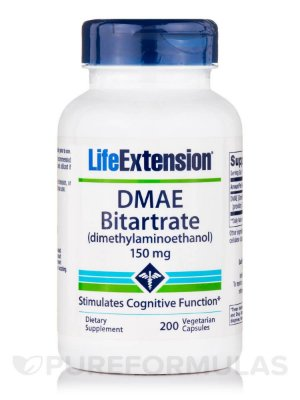 DMAE Bitartrate 150 mg 200 cápsulas - Life Extension (Envio Internacional)