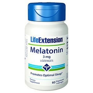 Melatonina 3 mg Lozenges - Life Extension - 60 Cápsulas (hormônio do sono)