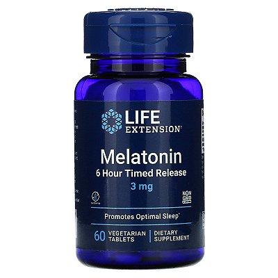 Melatonina 3mg Timed Release 6 horas - Life Extension - 60 tablets (PRONTA ENTREGA)