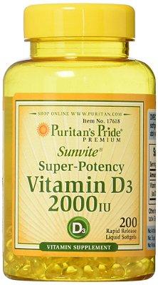 Vitamina D3 2.000 IU - Puritan's - 200 softgels