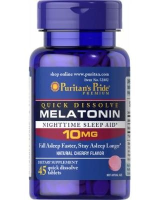 Melatonina 10 mg - Puritan's Pride - rápida dissolução - 45 tabletes com sabor artificial de Cereja