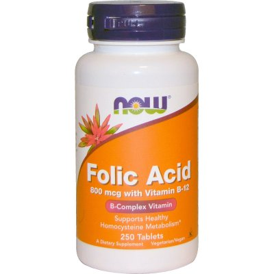Ácido Fólico 800 mcg com Vitamina B-12 - Now Foods - 250 Tablets