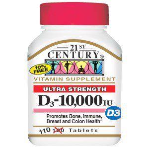 Vitamina D3 10.000 IU - 21st Century - 110 Tablets