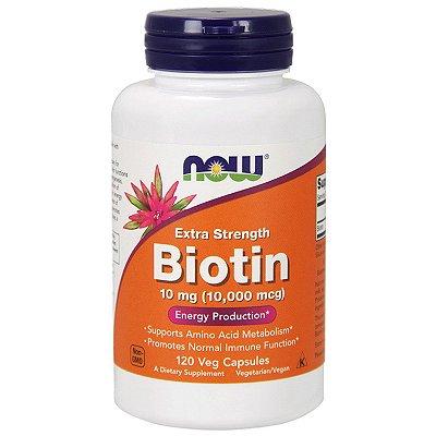 Biotina 10000 mcg - Extra forte- Now Foods - 120 Cápsulas