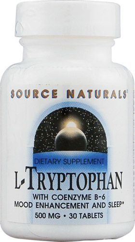 L-Triptofano (L-Tryptophan) 500 mg + Coenzima B6 - Source Naturals - 30 tablets