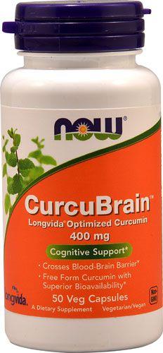 CurcuBrain 400 MG Longvida (Curcumin Otimizado) - Now Foods - 50 Cápsulas Frete Grátis