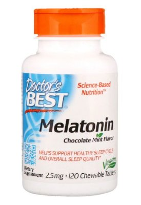 Melatonina 2,5 mg sublingual - Doctor´s Best - 120 Tablets sabor Menta com Chocolate (hormônio do sono)