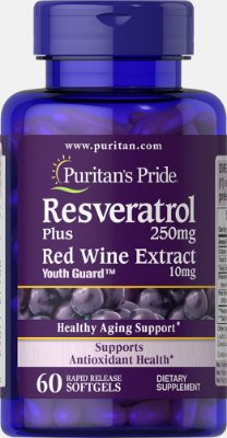 Resveratrol 250 mg - Puritan´s Pride - 60 softgels