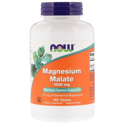 Malato de Magnésio 1000 mg - Magnésio Otimizado - Now Foods - 180 tablets - Frete Grátis