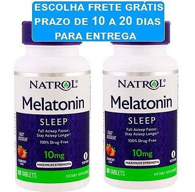 Melatonina 10 mg Fast Dissolve sublingual sabor morango - Natrol - 120 comprimidos (Envio Internacional)
