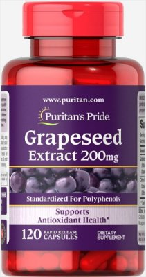 Extrato de semente de uva (Grapeseed Extract 200 mg) - Puritan´s Pride - 120 cápsulas