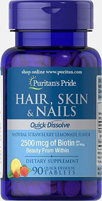 Vitamina para Cabelo, Pele e Unha  (HAIR, SKIN, NAILS) - Puritan´s Pride - 90 tablets mastigáveis