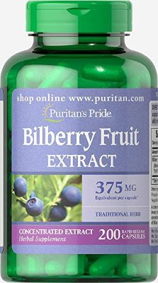 Bilberry Fruit Extract (Extrato de Mirtilo)  375 mg - Puritan´s Pride - 200 Cápsulas