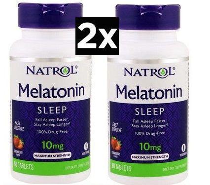 Melatonina 10 mg Fast Dissolve Sublingual Morango - Natrol - Total 120 tablets