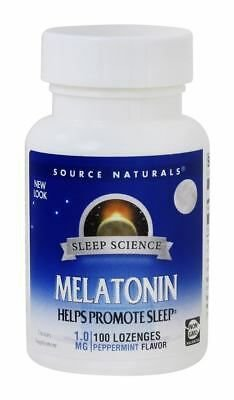 Melatonina 1 mg sublingual sabor Hortelã - Source Naturals - 100 comprimidos (hormônio do sono)