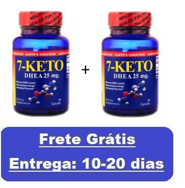Kit 2 unidades 7-Keto DHEA 25 mg - Earth´s Creation - Total 120 cápsulas (Envio Internacional)