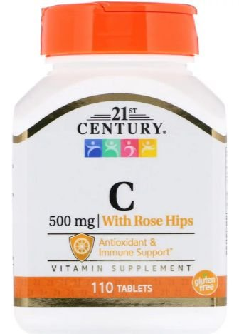 Vitamina C-500 mg com Rose Hips - 110 tablets