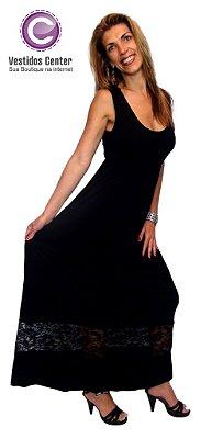 Vestido Longo liso com barra de renda preto
