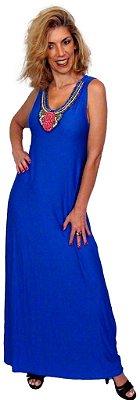 Vestido longo Azul com bordado em pedras