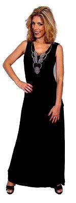 Vestido longo preto com bordado em pedras
