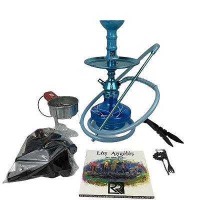 Kit Narguile Completo Anubis - Azul/Azul Bebe Velvet + Brinde